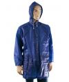 Blauwe regenjas met zakken
