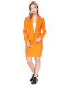 Oranje thema mantelpakje voor dames