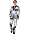 Business suit met zwarte en witte strepen