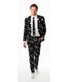 Hollywood thema zwart kostuum met ster print