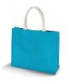Jute fel blauwe boodschappentas turquoise
