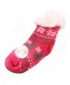 Huis/bank sokken fuchsia/grijs voor kids