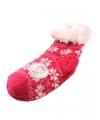 Huis/bank sokken fuchsia/wit voor kids