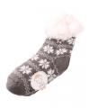 Huis/bank sokken grijs/wit voor kids