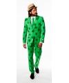 Groen klaver pak met stropdas