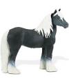 Zwart met wit speelgoed paard 11,5 cm