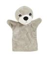 Pluche grijze zeehonden handpop 22 cm