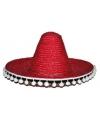 Feest sombrero rood 60 cm van stro voor volwassenen