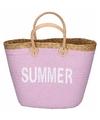 Roze rieten strandtas handtas 40 x 14 x 28 cm