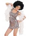 Carnavalskleding Seventies disco diva jurkje zilver