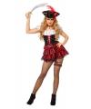 Carnavalskleding Sexy piraten jurkje zwart met rood