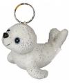 Witte glitter zeehond aan sleutelhanger