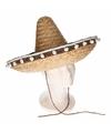 Feest sombrero naturel 40 cm van stro voor volwassenen