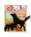 Paarden speelgoed zwart paard met veulen en hond