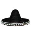 Feest sombrero zwart 60 cm van stro voor volwassenen